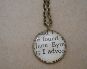 Literary necklace, Jane Eyre necklace, book page necklace, Charlotte Bronte pendant, upcycled book page, book page jewellery