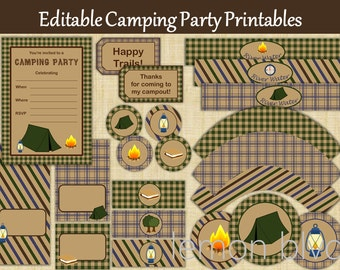 Editable Camping Party Printable Package | Instant Digital Download | Camping Party Pack | Camping Party Decorations | Camping Party