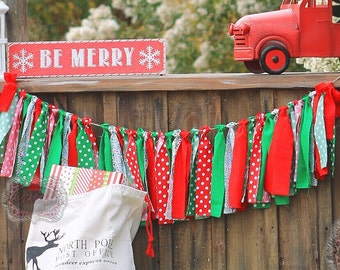 Christmas Banner Christmas Photo Prop Rag Banner Rag Garland Christmas Wedding Birthday Banner Holiday Banner