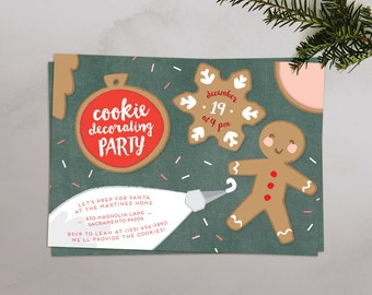 Christmas Cookie Decorating Party Invitations | Printable Invitations or Evite / E-vite