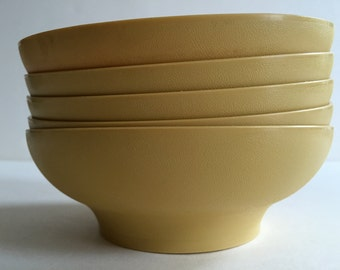 Vintage TUPPERWARE Cereal Bowls | Mustard Colored | Made in USA | Set of Six