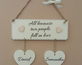 Personalised Wedding Gift. All because two people fell in love. Wooden plaque. Anniversary gift. Valentine's day