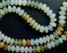 93 Cts, 16'' Strand, HUGE Size, Natural Ethiopian OPAL Smooth LARGE Rondelles, Size 7.5-7MM