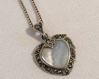 Sterling Silver 925 MOP Mother of Pearl Marcasite Heart Pendant Necklace Jewelry