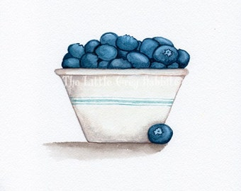 Blueberry Watercolor, Food Painting, Vintage Bowl Art, Blueberry Art, Kitchen Decor, Food Art, Original Watercolor, Kitchen Art