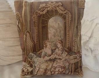 Vintage French Aubusson Marie Antoinette Romantic Paris Tapestry Pillow Pastels