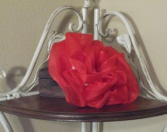 red organza pouf fasinator