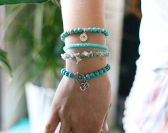 Mini Wave Stamp Turquoise Beaded Bracelet