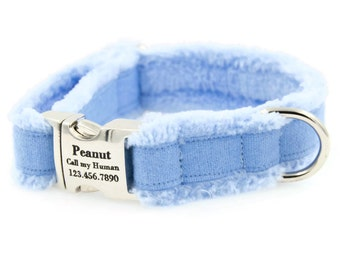 Fleece-Lined, Personalized Dog Collar, Pet ID, Nameplate, Soft Cotton, Very Comfy