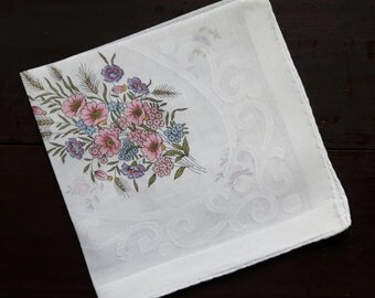 White cotton vintage handkerchief with flowers