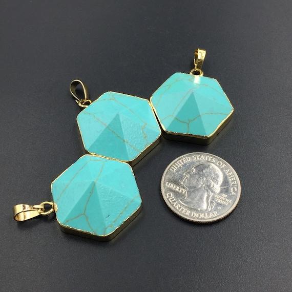 green turquoise pendant hexagon turquoise gemstone pendant