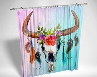 Window Curtains, Chiffon Sheers , Watercolor Bull Skull, Southwest Boho