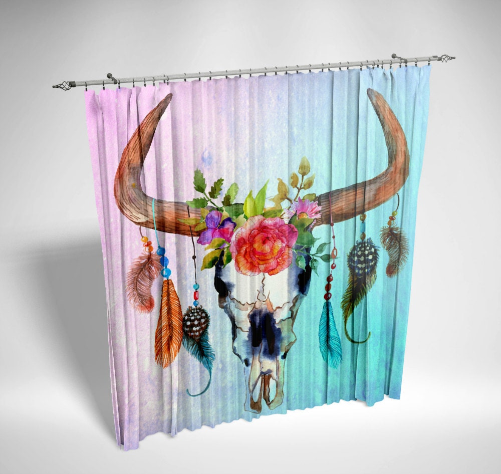 Boho window curtains - Window Curtains Chiffon Sheers Watercolor Bull Skull Southwest Boho