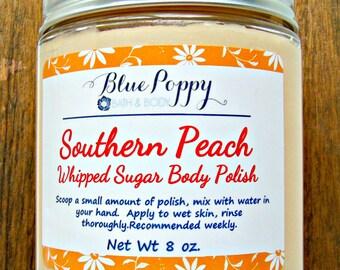 Whipped Sugar Body Polish, Southern Peach Fragrance, Sugar Scrub, Whipped Scrub, Emulsified Body Scrub, Spa Scrub