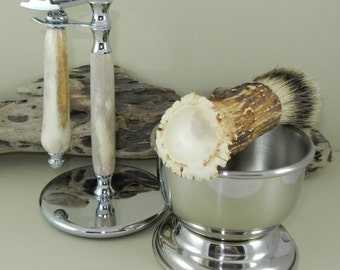 Deer Antler Shaving Set