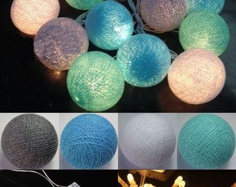 Battery Operated 20 mixed Blue tones Color Cotton Ball String Light Hot colors
