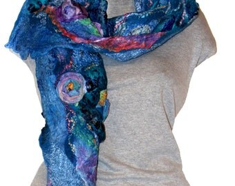 Nuno Felted Scarf Blue  Felted Scarf Felted Scarf Wool and Silk Scarf Felt Scarf with Flowers Кoses Scarf Felt Gift for Her Ready to Ship