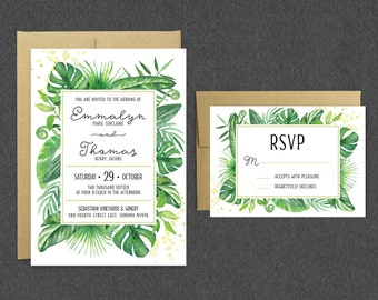 tropical wedding invitation  etsy, Wedding invitations