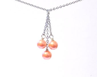 Orange pearl necklace, Silver necklace, chain necklace, pearl chain necklace, womens necklace, orange necklace, pearl necklace, necklaces