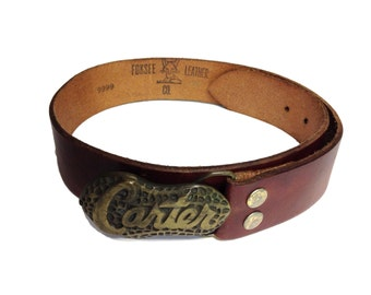 Foxsee Leather Company 'Carter' Brass Handmade Genuine Leather Belt - Size 28, Small