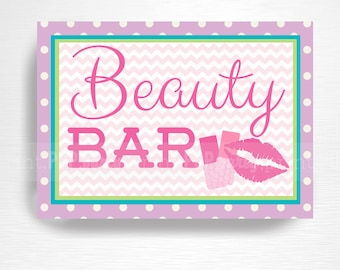Spa Birthday Party Printable Sign Beauty Bar Digital Instant Download
