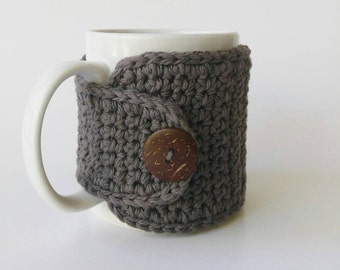 Cotton Coffee Mug Cozy, Coffee Cozy in Grey, Grey Cup Cozy, Coffee Sleeve, Coffee Lovers Gift, 16 Colors