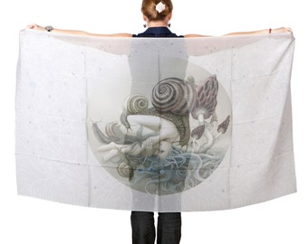 Art Scarf large Disappear, Art Fashion, Shawl, wrap sarong, perfect gift, Hand Painted nature snails woman Digitally Printed Chiffon