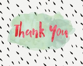 Thank You card with red and green watercolor