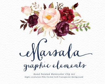 Watercolor floral Clip Art-Marsala Graphic Elements/Individual PNG files/Hand Painted/Wedding design/Bohemian/Boho/Rustic