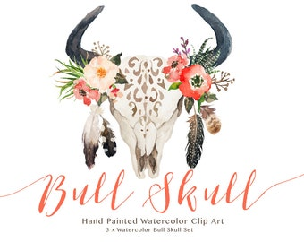 Watercolor bull skull set/Wedding/Clip art collection/Individual PNG files/Hand Painted/boho style/rustic