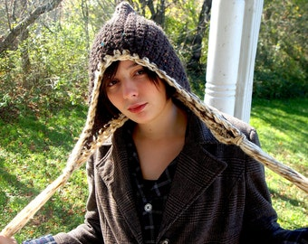 Woodland brown crochet earflap hat