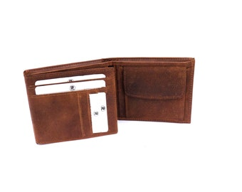 New Mens Handmade Leather Coin/Credit Card/ID Wallets with 12 Card Slots, Rich Distressed Leather