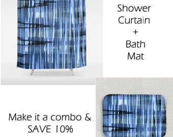 Blue shower curtain – Etsy