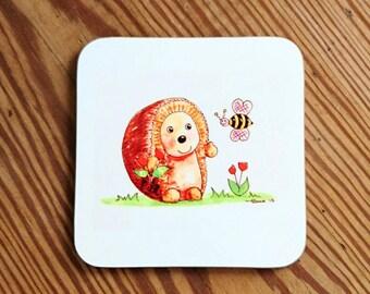 Hedgehog Coaster  Watercolour Art coaster Hedgehog coaster Hedgehog gift small gift Hedgehog table decor