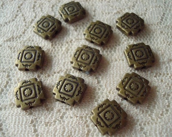 22 Bronze Aztec Style Square Metal Spacers. Solid. 10x3.5mm Native American Design Bronze Beads  ~USPS Standard Ship Rates from Oregon
