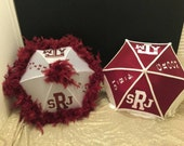 New Orleans Second line Umbrellas (Texas A&M inspired set) Bride and Groom set