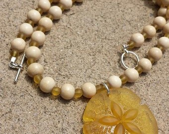 Sea Glass Sand Dollar and Wood Necklace