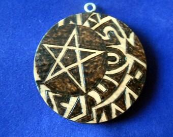 Pentacle moon pendant (wood burned pyrography art)