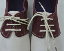 Size UK6 US8.5 EU39:Handmade leather ladies oxford style shoe. Leather Sole and Upper with deep red and white suede and leather finish