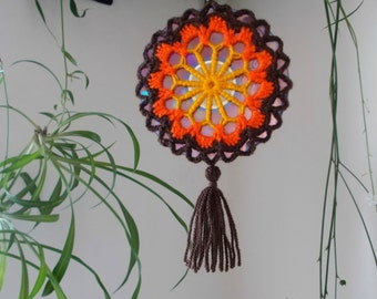Crochet Autumn Mandala Suncatcher - Double Sided Sun Catcher Mobile - Repurposed/Upcycled CD - Window Decor - Crocheted Doily Ornament