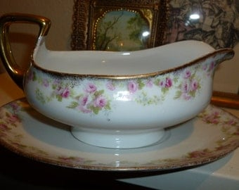 Vintage Pink Rose Motif Austrian Gravy / Sauce Boat With Matching Plate from the 1930's