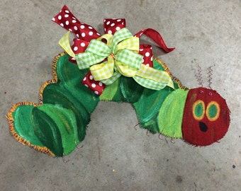 Caterpillar Burlap Door Hanger