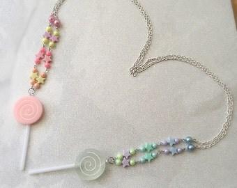 Lollipop Necklace Pink Or Blue