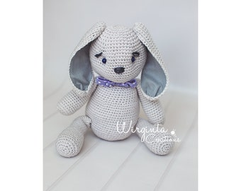 Crochet bunny, big bunny, about 41cm+ , with ears, and ribbon, photography prop, posing prop