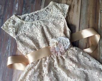 Lace flower girl dress. Flower girl dress. Champagne flower girl dress. Girls dress. Country rustic dress. Girls Lace dress