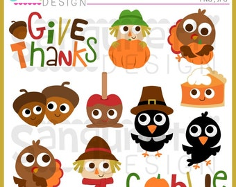Thanksgiving clipart, turkey clipart, scarecrow clipart, fall clipart, instant download