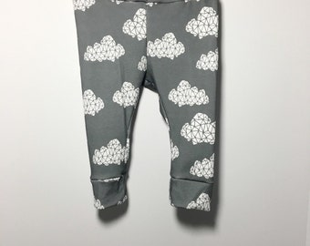 Organic Cotton Knit grey and white geometric clouds pajamas Baby girl,Infant,Toddler leggings,pants,photo prop,newborn take home outfit