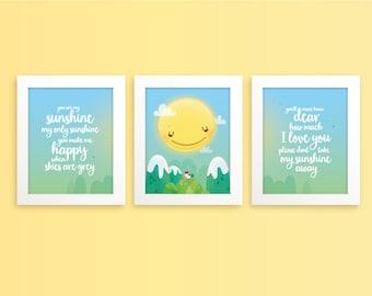 You are my sunshine wall art print set - Set of prints, yellow nursery, baby room art