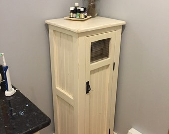 Cottage style linen cabinet, bead board, wire door, jelly cabinet, bathroom cabint, beach, rustic