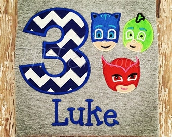 PJ Masks applique embroidery personalized shirt